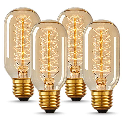 DORESshop T45 Vintage Edison Light Bulb, Antique Tubular Style Incandescent Bulb, Warm White, Amber Glass, 110-130 Volts, E26 Medium Base Lamp for Home Light Fixtures Decorative, 4 Pack