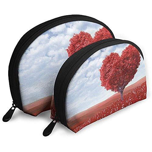Autumn Love Tree Bolsas portátiles Bolsa de Maquillaje Bolsa de Aseo, Bolsas de Viaje portátiles multifunción Pequeña Bolsa de Embrague de Maquillaje con Cremallera