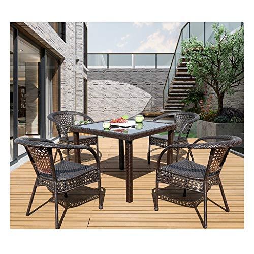 DYYD Juegos de Muebles de jardín Rattan Muebles de jardín Mesa y sillas Conjunto Familia del césped Muebles de Exterior for jardín al Aire Libre Junto a la Piscina (Set de 4 sillas de jardín Tabla)