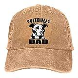 Dyfcnaiehrgrf Pitbull Dad - Gorra de béisbol unisex reutilizable para sombrero de sol para mujer, color negro natural