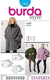 Burda Ladies Easy Sewing Pattern 7422 Cape Coats & Jackets
