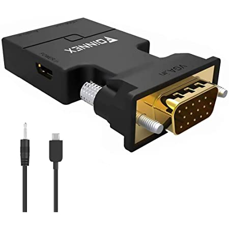 VGA to HDMI adapter converter with audio, (VGA source output from PC to TV / Monitor with HDMI connector), FOINNEX Active VGA Male to HDMI female 1080p video dongle adapter for computer, laptop, projector, TV