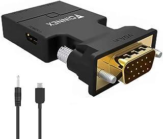 VGA till HDMI-adapterkonverterare med ljud 1080P (PC VGA-utgångskälla till TV/bildskärm med HDMI-ingångsanslutning), FOINN...