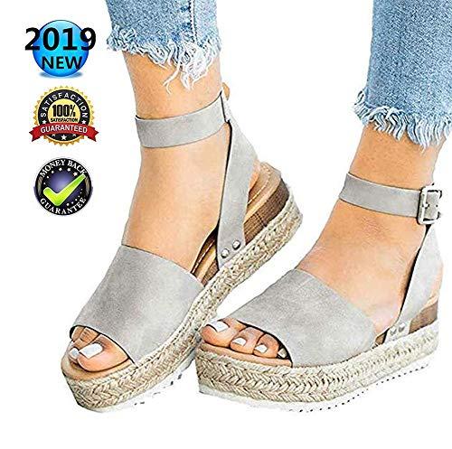Sandals wig Peep Toe dames zomer retro platform espadrilles Peep Toe gesp enkel riempje mode platte veters 5 cm hoge hakken leer slingback schoenen casual comfortabel grijs