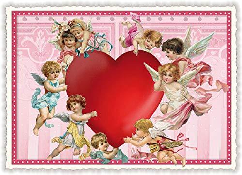 Nostalgische Postkarte mit Glitzer * Engel mit Herz