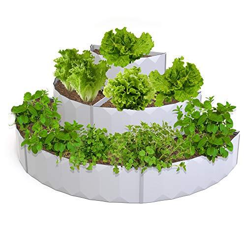 Palram Jenny Hochbeet mit 3 Ebenen, 6 Abschnitte, Landschaftsgarten-Pflanzgefäß, halbrund, Hochbeet, 3D grauer Kunststoff, modulares Gartenbeet