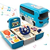 CUTE STONE Bus Car Toy, Kids Play Vehicle with Sound and Light, Simulation Steering Wheel, Musical School Bus Toy for Toddler, Educational Bus Driving Toy Gift for Toddlers Boys & Girls