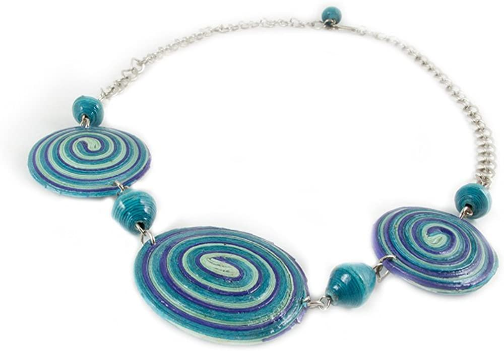 Maisha Fair Trade Strand Necklace, Tourquoise and Purple Verigated Paper Beaded