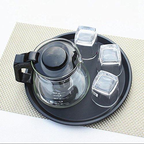 Lozse Rutschfeste, Tablett, Tablett mit Tee, Wasser Schale, schwarz, Kunststoff, rund