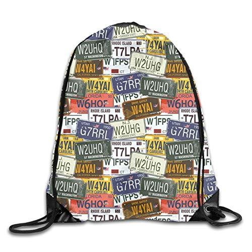 Drawstring Gym Bag Backpack,Retro American Auto License Plates Utah Washington Rhode Island North Carolina Print,Rucksack for School Sports Travel Women Children Birthday Present