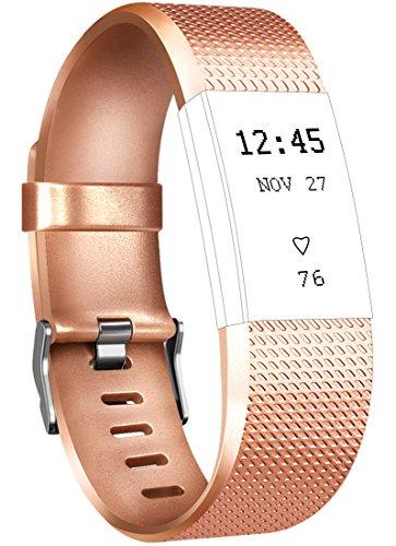 Tobfit Fitbit Charge 2 - Correa ajustable de repuesto para Fitbit Charge 2 - Tamaños: pequeño, grande, Classic-Rose Gold