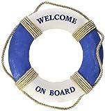 Juvale Life Ring Welcome on Board - Anillo Salvavidas para decoración de la Pared del hogar, Color Azul y Blanco náutico - 12.5 Pulgadas (31.8 cm)