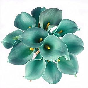 Celine lin Calla Lily Bridal Wedding Party Decor Bouquet PU Real Touch Flower Artificial Flowers(10 PCS,Blue)