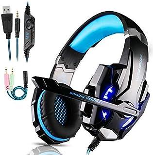 comprar comparacion Igrome Auriculares para Videojuegos con micrófono, Sonido Envolvente de Bajos estéreo (Stereo Bass Surround), luz led, Col...