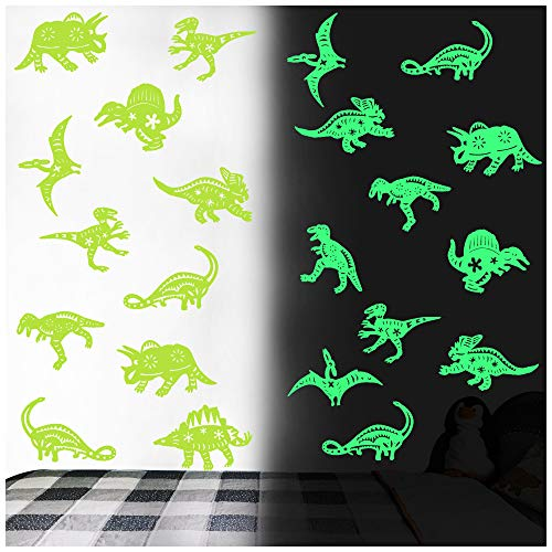 40PCS Luminous Dinosaur Wall Stickers,Dinosaur Decor for Boys,Glow in The Dark Wall Decals,Dinosaur Decorations for Boys Room