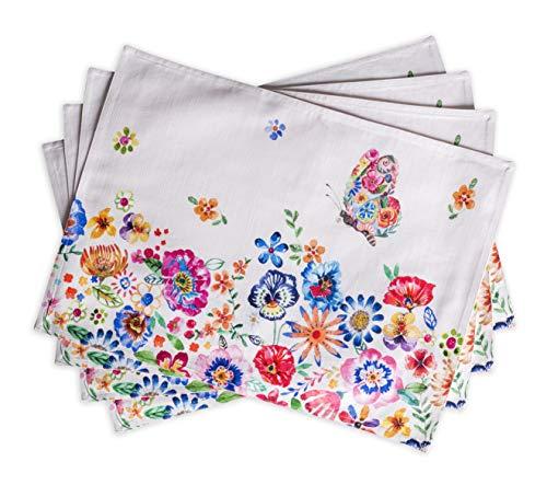 """Maison d'Hermine Happy Florals - Set di 4 tovagliette all'Americana in 100% Cotone, 33 x 48 cm 13""""x19"""" Alta Estate"""