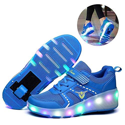 Zapatillas de Ruedas LED para niños Ruedas Individuales Retráctiles con Ruedas Zapatillas con luz LED Zapatillas de Deporte de Gimnasia para Deportes al Aire Libre Unisex