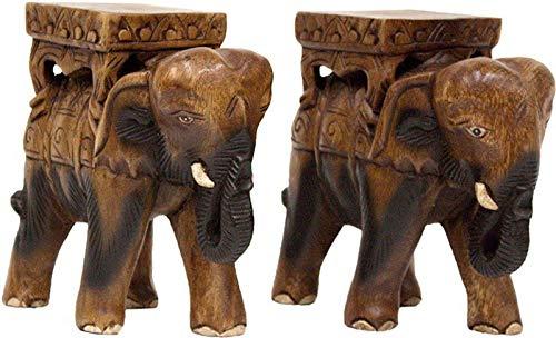 Asiatika-Online.de Paar Elefanten Holz BLUMENHOCKER BLUMENSTÄNDER MASSIV Asia MÖBEL Asien 23CM '2