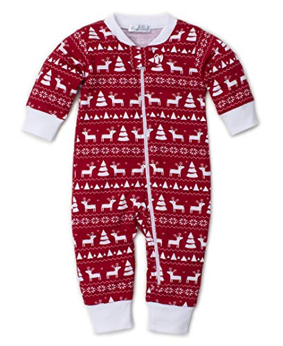 Kissy Kissy Unisex-Baby Infant Christmas Deer Print Playsuit with Zipper-Red-6-9 Months