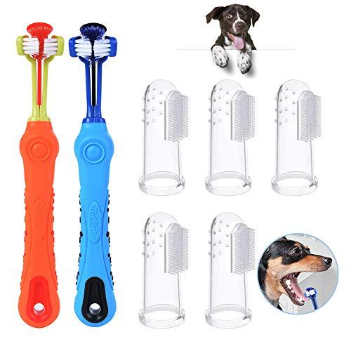 LATTCURE Hundezahnbürste, 7 stück Pet Finger Zahnbürste Hund Haustier Zahnreinigung Silikon Hund Zahnreiniger Naturkautschuk Finger Zahnbürsten für die Zahnpflege kleine Hunde und Katze