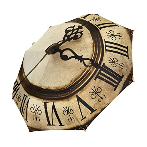 Ahomy Antiguo Reloj Plegable Paraguas Lluvia Impermeable Automático Sunblock Compacto Paraguas de Viaje para Mujeres Hombres