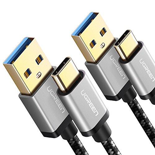 UGREEN 2X Cable USB Tipo C a USB 3.0 Nylon Trenzado Carga Rápida para Celulares USB Type C Samsung S9 Note S8 Plus S8 Note 8, Huawei Mate 20 P20 P10 P9, Xiaomi Mi6 Mi A1, LG G6, Sony XZ2(2M, 2Unidad)