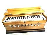 INDIAN MAHARAJA Harmonium 9 paradas, 3 1/2 octava, doble lengüeta, acoplador, color natural, estándar, libro, bolsa acolchada, A440 afinado, instrumento musical indio Sangeeta