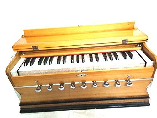 Indisches Maharaja Harmonium 9 Stops, 3 1/2 Oktave, Doppel-Stimmzung, Koppler, natürliche Farbe, Standard-Buch, gepolsterte Tasche, A440 Tuned, Musikinstrument Indian Sangeeta