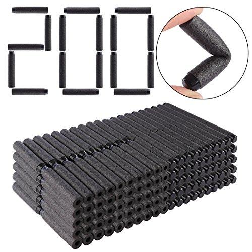 HYZH 200 Stück Foam Pfeile Patronen für Nerf N-Strike Elite Series Blasters Retaliator Schwarz