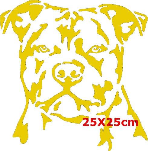 Staffordshire Bullterrier Größe 25cm x 25cm (Gelb)