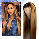 26 Inch 13x6 Straight Highlight 27 Colored Lace Front Wigs Human Hair, Honey Blonde Full Highlight Lace Front Human Hair, Fashion Brazilian Long Wigs, Machine Made Wig Bleached Knots