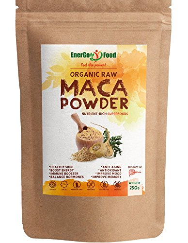 Organic Maca Powder- Rich in Vitamin C, B6, Calcium, Zinc & Fibres- Enhance Your Energy, Mood & Memory with Raw Maca Root Extract Vegan&Kosher Superfood-Blended Maca Root Powder by EnerGoFood (250g)