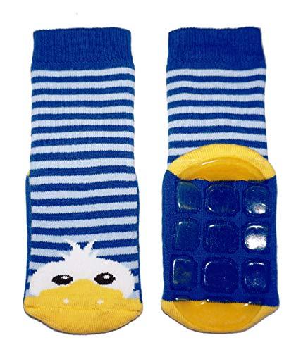 Weri Spezials Baby & Kinder Stopper Socken mit ABS Sohle Baumwolle Enten Motiv für Jungen & Mädchen in mehreren tollen Farben Anti-Rutsch (35-38, Mittelblau)