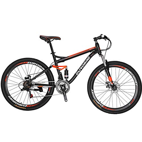 Eurobike OBK S7 Full Suspension Mountain Bike 21 Speed Bicycle 27.5 inches mens MTB Disc Brakes Bicycle (Aluminium Rims)