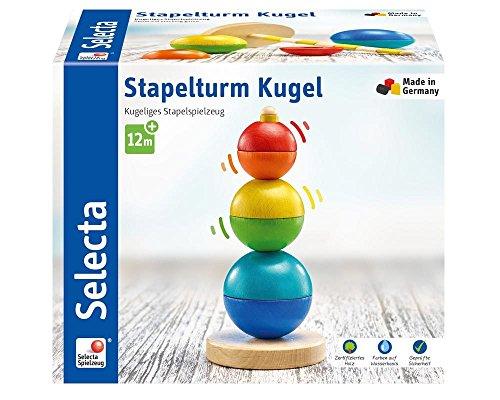 Selecta 62002 Kugel Stapelturm, Holzspielzeug, 16 cm, bunt