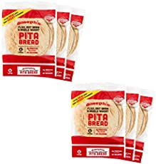 Joseph's Pita Bread Value 6-Pack, Flax Oat Bran and Whole Wheat, 7g Carbs per Serving (6 per Pack, 36 Pitas Total)
