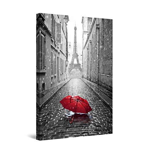 Startonight Cuadro sobre Lienzo en Blanco y Negro Paraguas Rojo en la Calle, Impresion en Calidad Fotografica Enmarcado y Listo para Colgar Diseño Moderno Decoración Formato Grande 60 x 90 CM