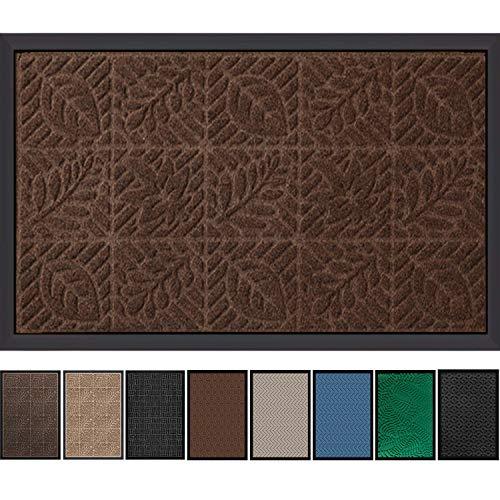 """Outside Shoe Mat Rubber Doormat for Front Door 18""""x 30"""" Outdoor Mats Entrance Waterproof Rugs Dirt Debris Mud Trapper Carpet for Patio Non Skid Doormats all Weather Exterior Door Mat Brown"""