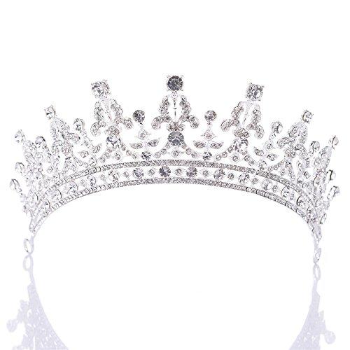 SWEETV Luxus Prinzessin Diadem Hochzeit Krone Braut Tiara mit Kristalle für Festzug Prom, Silber