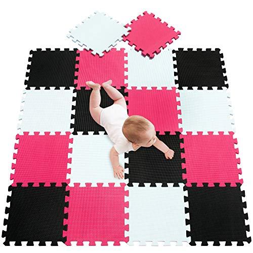 meiqicool Alfombra puzle 142 x 114cm Niños 18 Piezas Cuadrado Goma Espuma EVA,Alfombra Puzzle para Niños Bebe Infantil,esteras de 30x30cm Blanco Negro y Rojo 010409