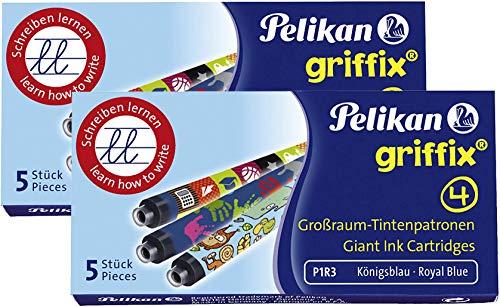 Pelikan P1R3 Griffix Refills Füllhalter 2 Faltschachteln mit 5 Patronen, löschbar, blau (10er Packung)