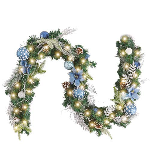 WANNA-CUL Pre-Lit 6 Feet Christmas Garland with Lights for Front Door Silver Blue Christmas Mantel Garland Decoration with Ball Ornaments, Poinsettia Flowers,Pine Cones, Battery Operated 30 LED