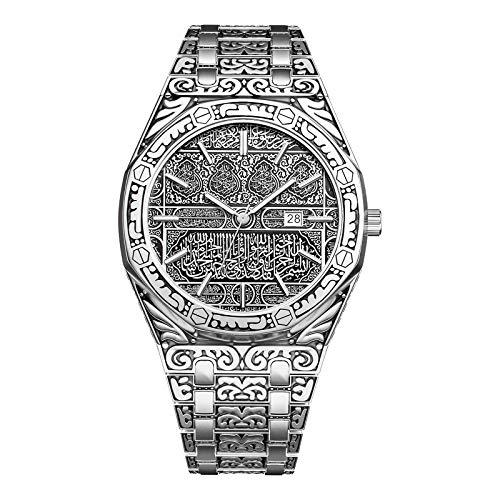 KUYG Reloj de pulsera para hombre, estilo vintage Carved Watch de lujo Business Islamic