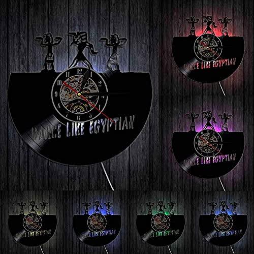 Reloj de Pared con Disco de Vinilo diseño Creativo Reloj de Pared de Baile Reloj de Pared Moderno Arte Egipcio Adecuado para Regalos de Bailarina de jeroglíficos