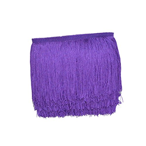 Mangocore 10Yard/Lot 15CM Long Lace Trim Color Polyester Tassel Fringe Trimming For Diy Latin Dress Stage Clothes Accessories (Purple)