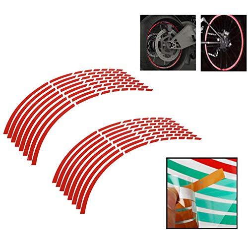 Etiqueta de la raya de la llanta de la rueda de la motocicleta de 16 piezas, etiqueta de la etiqueta de la rueda de la llanta de la motocicleta Etiqueta engomada del accesorio de la etiqueta(rojo)