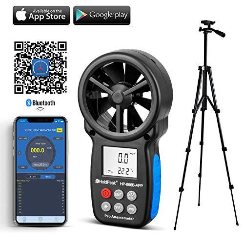 HoldPeak 866b-app Digital Anemometer mit Mobile App oder USB–Die besten Wind Speed Meter Maßnahmen Wind Speed + Temperatur + Wind Chill mit Hintergrundbeleuchtung (CE, ISO, RoHS, GMC)