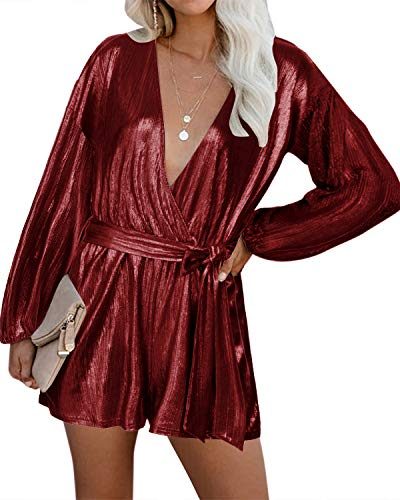 YOINS Jumpsuit Damen Elegant Langarm Festlich Hosenanzug Party Glitzer Sexy Romper V-Ausschnitt Playsuit mit Gürtel
