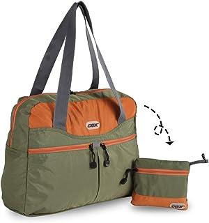 GOX Premium Foldable Tote Bag, Duffel Bag for Travel, Multipurpose Daypack (Green/Orange)