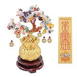 BESPORTBLE Feng Shui Chakra Kristall Geld Baum Bonsai Chinesischen Glücksbaum mit Glücksmünzen für Reichtum Glück Home Dekoration Bunte Größe S